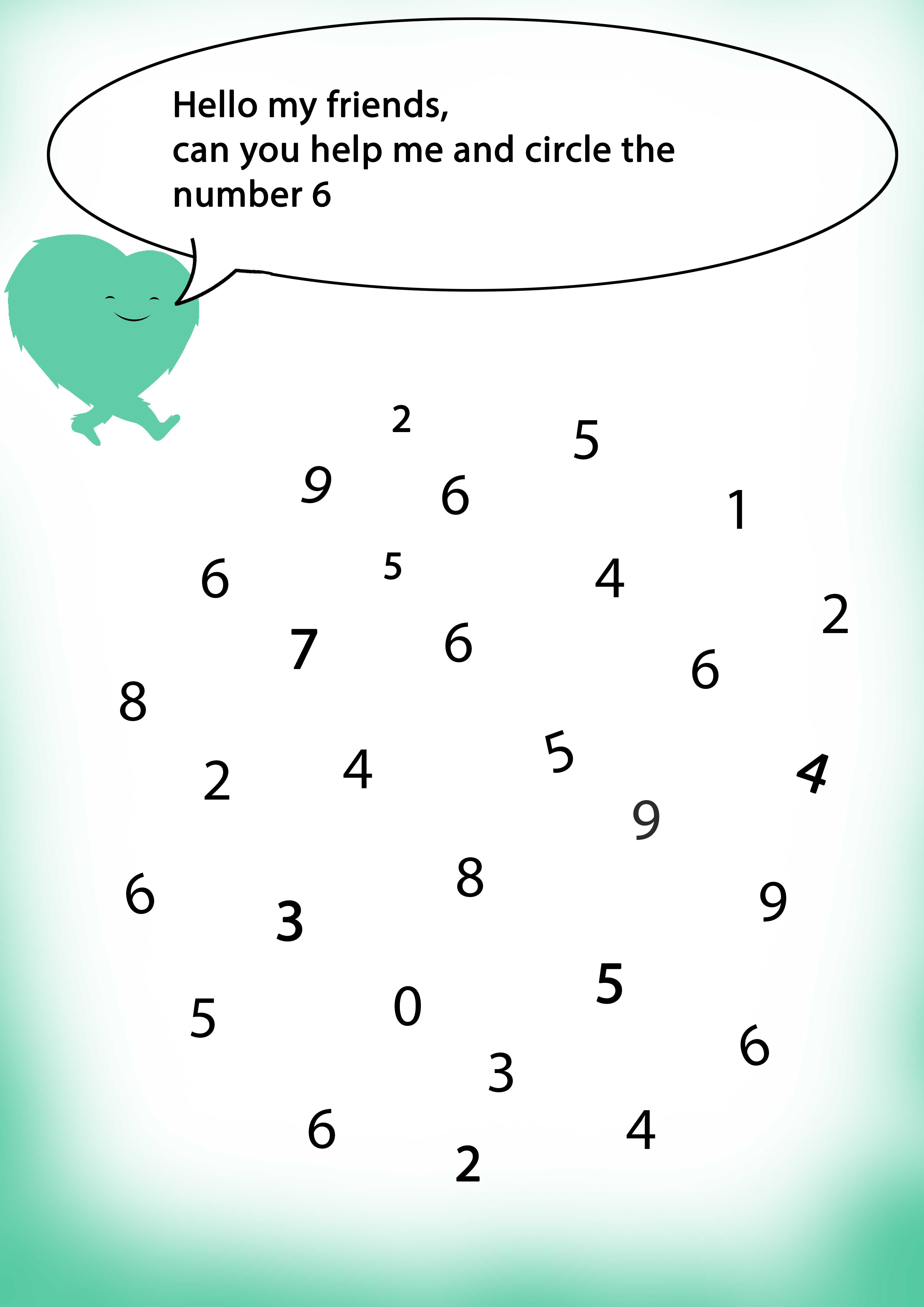 Find The Number 6 Circle The Number Worksheets Numbers Math Simplesteps